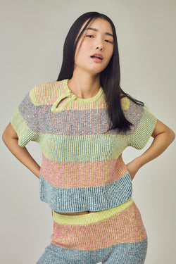 Two Toned Tweed Tee in Multicolor Tweed