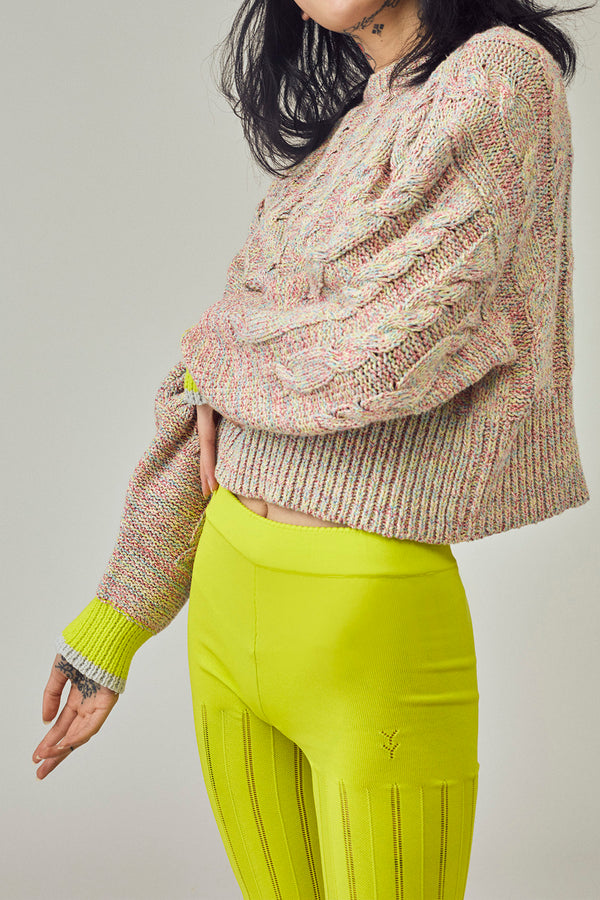 Funfetti Cropped Pullover in Multicolor Tweed