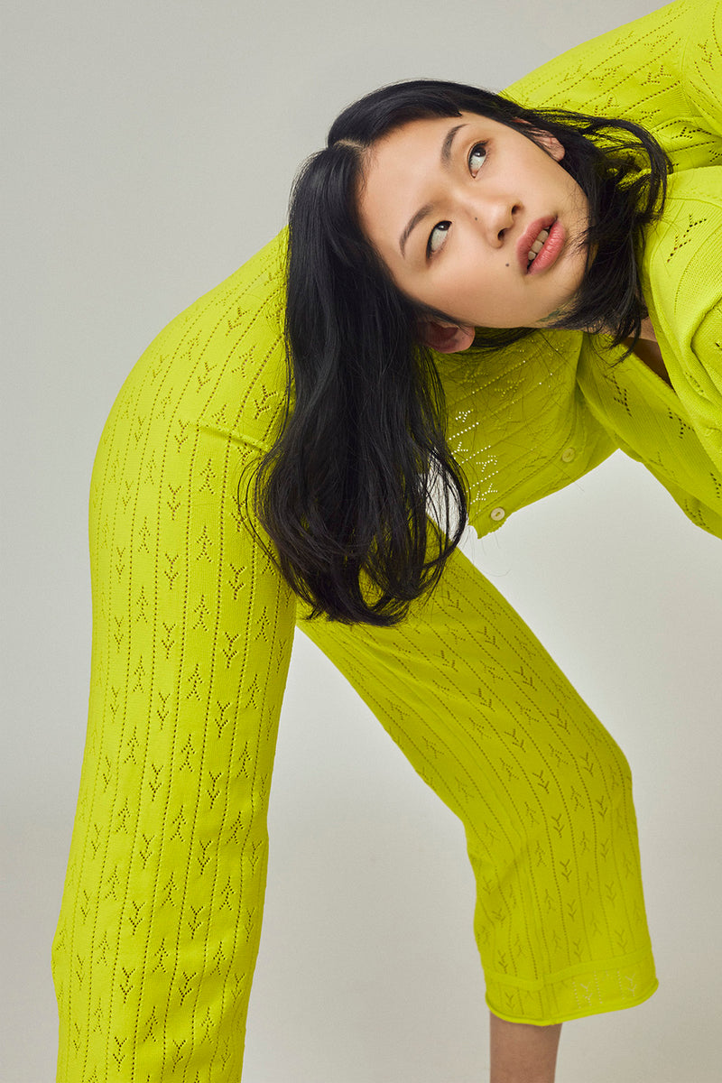 Holey Pant in Sprout Yellow