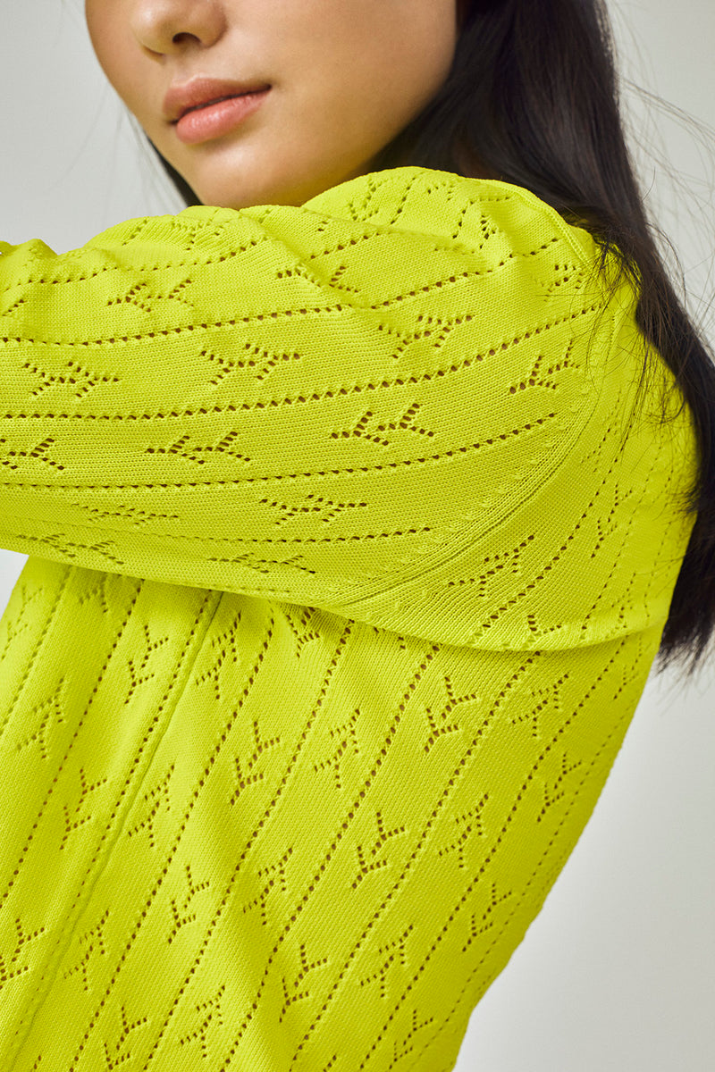 Holey Shrunken Cardigan in Sprout Yellow