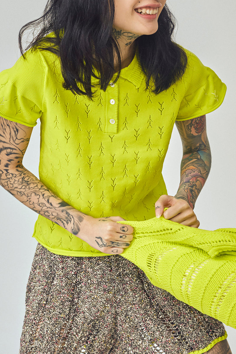 Holey Short Sleeve Polo in Sprout Yellow