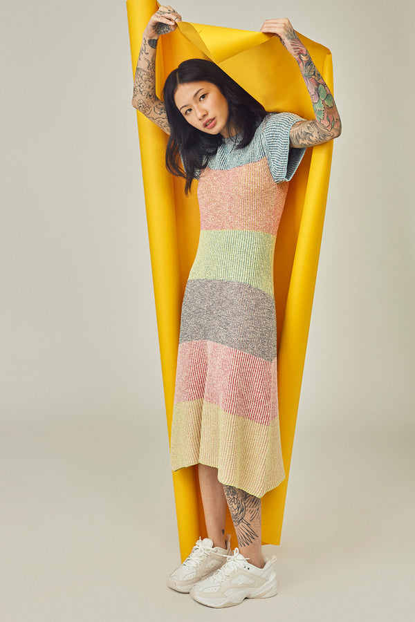 Two Toned Tweed Cheongsam in Multicolor Tweed