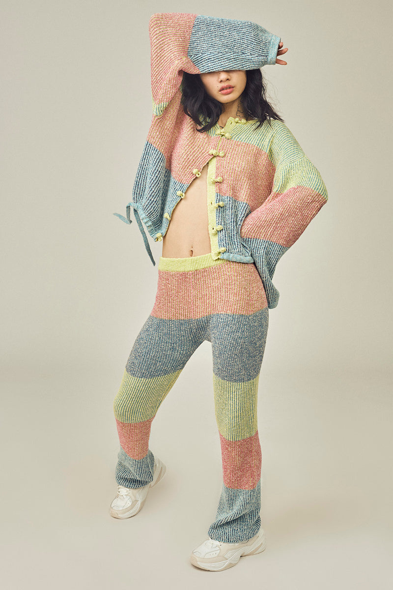 Two Toned Tweed Kungfu Jacket in Multicolor Tweed