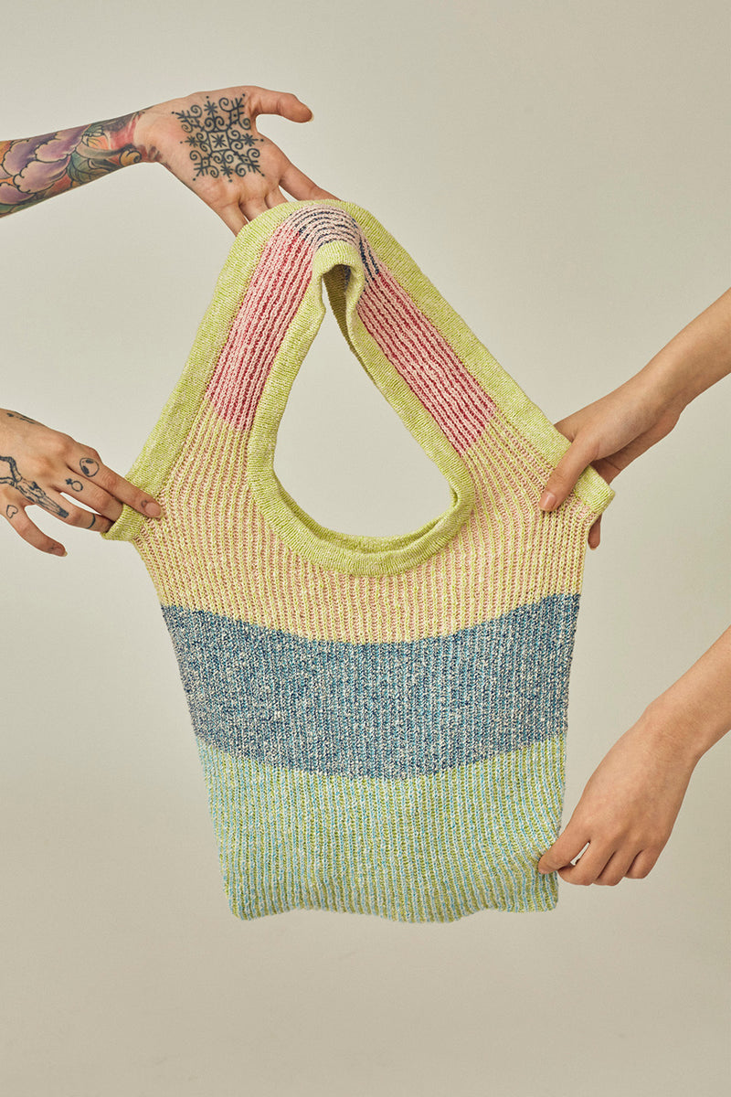 Two Toned Market Tote in Multicolor Tweed