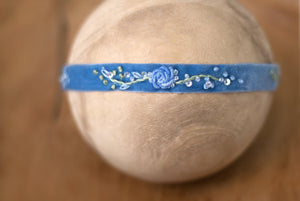 "Hattie Hand-Embroidered Band in ""Smoke Blue"""