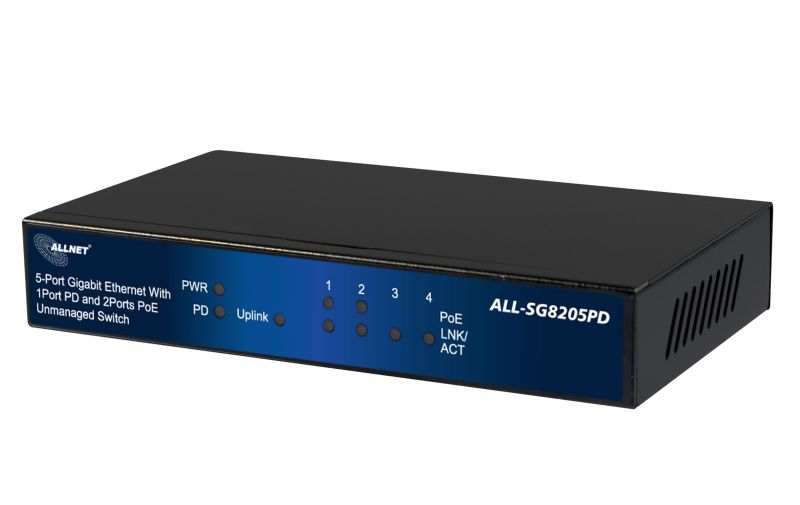 ALLNET SG8205PD / unmanaged 5 Port Gigabit Switch, 1x AT 30W PD IN, 2x PoE out, 2x LAN out - ALLNET USA