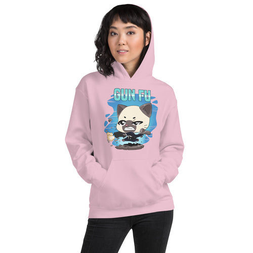 Cat Wick Gun Fu Women's Hoodies