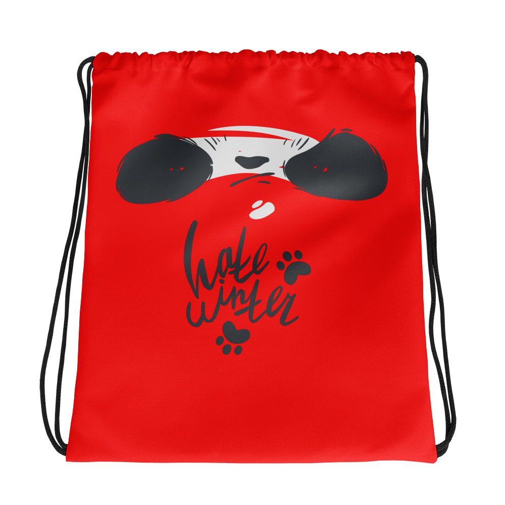 Hate Winter Smirk Panda Drawstring bag