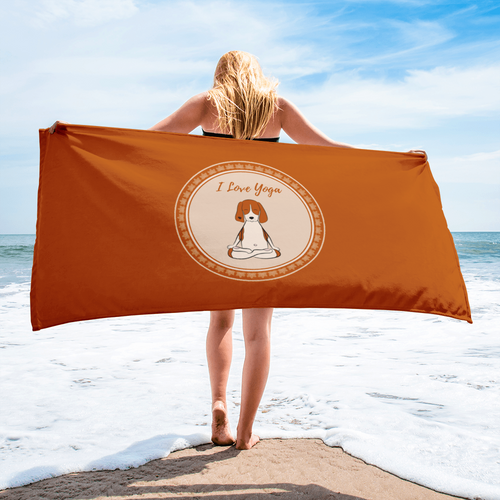 I Love Yoga Beach Towel