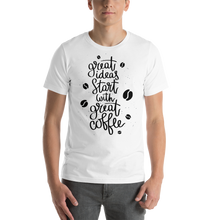 Load image into Gallery viewer, Great Ideas Start With Great Coffee Men's Tee's