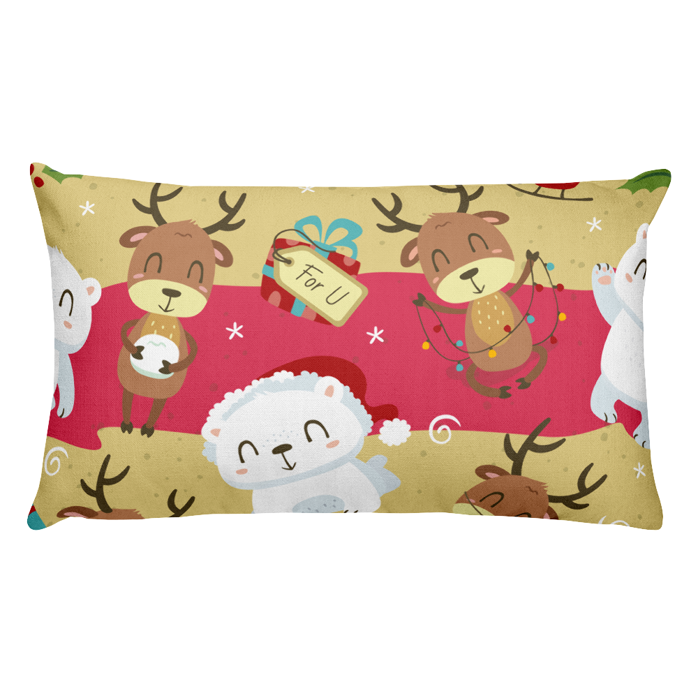 Polar Bear And Rudolf Premium Pillow
