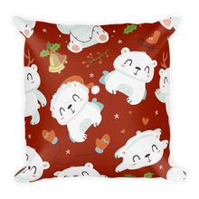 Load image into Gallery viewer, Polar Bear Holiday Red Premium Pillow