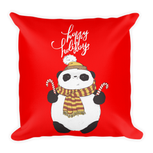 Load image into Gallery viewer, Happy Holiday Panda Premium Pillow