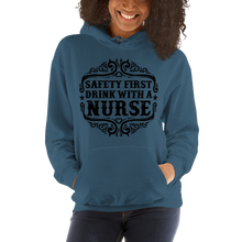 Load image into Gallery viewer, Safety First Drink With A Nurse Women's Hoodies