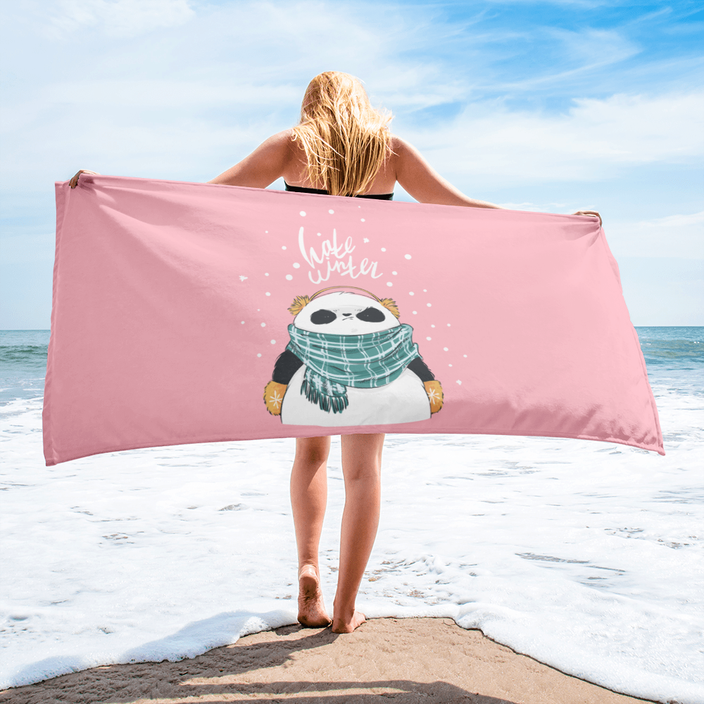 Hate Winter Panda Beach Towel