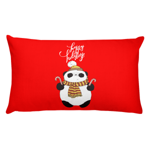 Happy Holiday Panda Premium Pillow