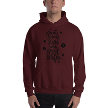 Load image into Gallery viewer, Great Ideas Start With Great Coffee Men's Hoodies