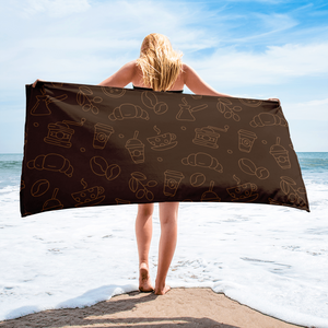 Black Coffee Beach Towel