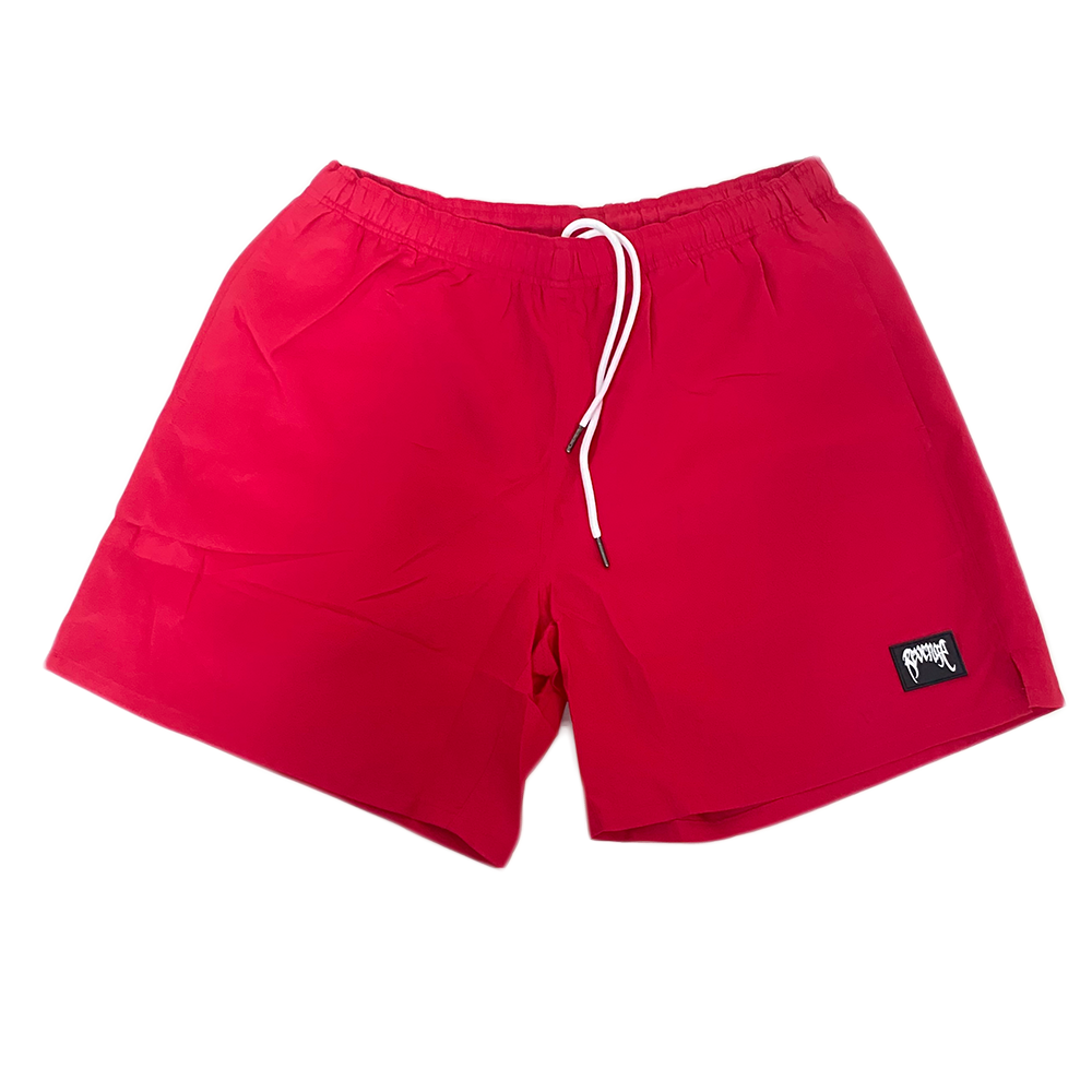 Revenge Rubber Patch Shorts Red