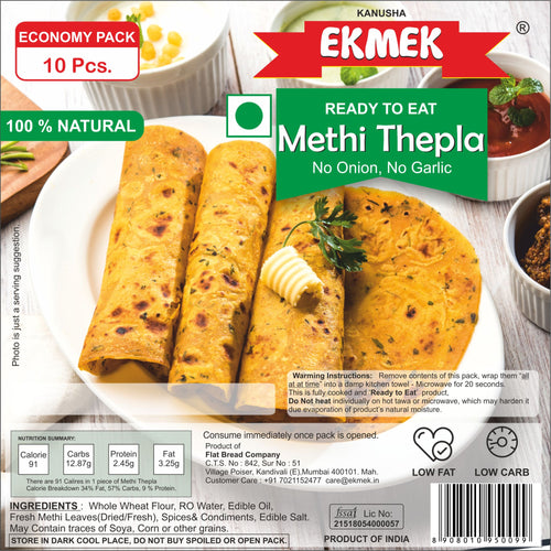 Economy Pack -  Methi Thepla (No Garlic) - Vacuum Pack of 10 pcs.