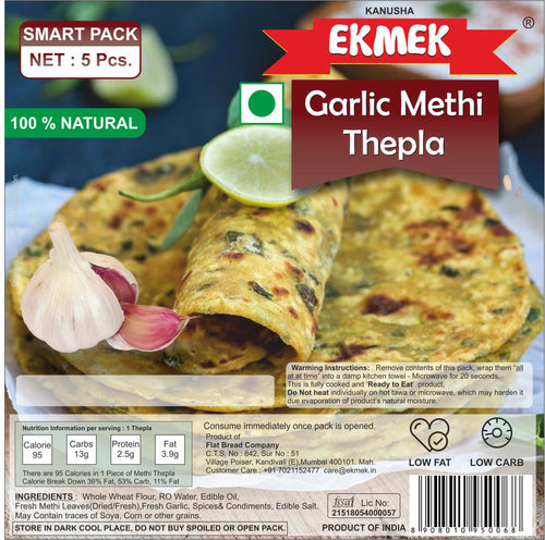 3 Pack Combo - Garlic Methi Thepla (3 x 5 Pcs Vacuum Packed)