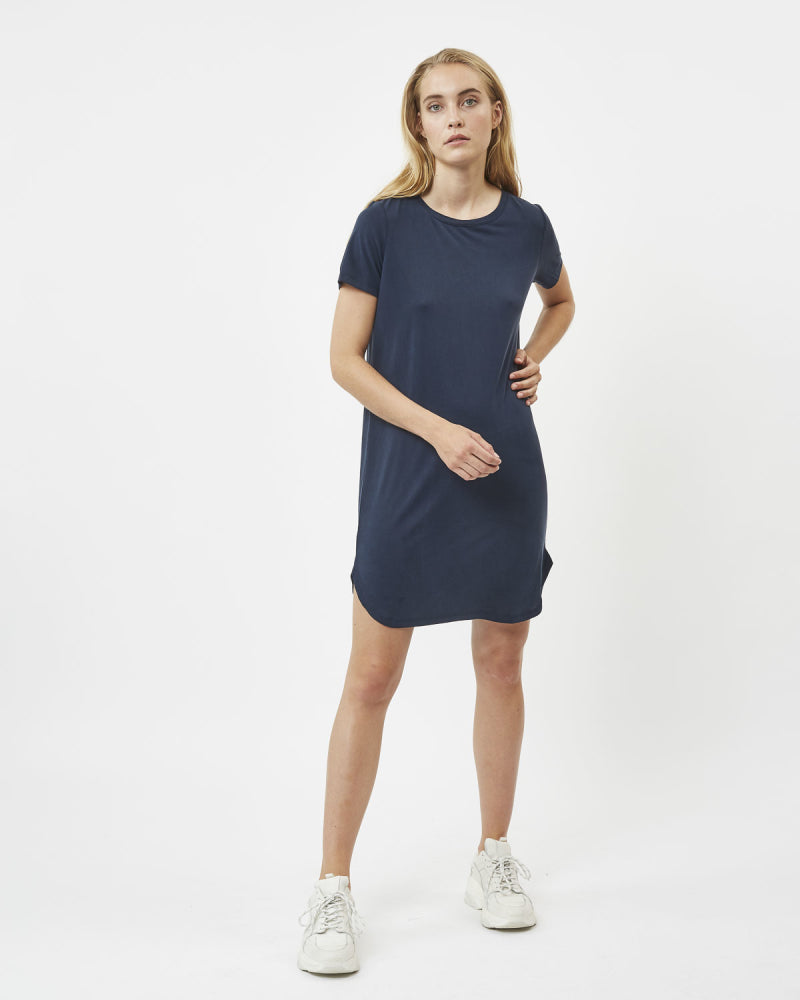 NAVY TENCEL T-DRESS