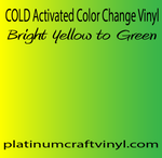 Cold Activated Yellow to Green Color Changing Vinyl
