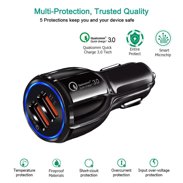 USB Car Charger - Qualcomm 3.0 Quick Charge Dual USB - Features