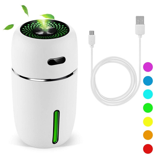 Portable Air Humidifier Essential Oil Diffuser with Color Changing LED - Perfect For Easier Breathing -