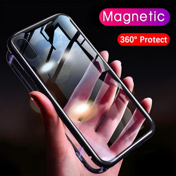 Magnetic Absorption iPhone Case with Clear Tempered Glass Cover - Fast Charge Store