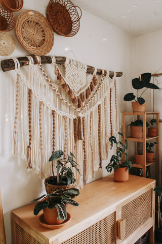 Large 4.5ft by 4ft neutral tricolored macrame wall hanging