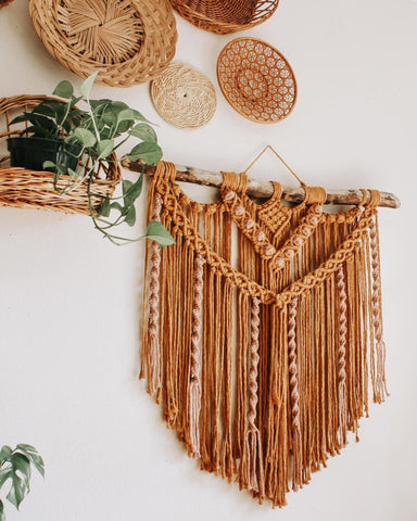 3ft by 3ft mustard macrame wall hanging