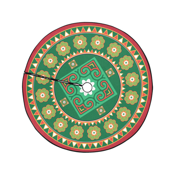 "Red & Green Hmong Christmas Tree Skirt 47"" x 47"""