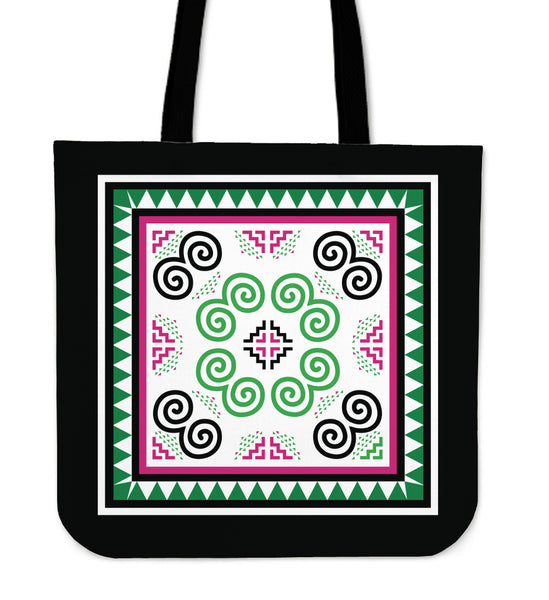 Green & Pink Hmong Pattern Poly-Cotton Tote