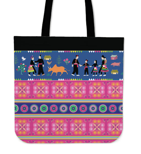 Hmong Story Cloth Blue & Pink Simple Tote