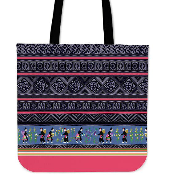 Hmong Batik Print & Story Cloth Poly-Cotton Tote