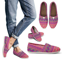 Pink Hmong Printed Pattern Slip on Canvas Flats