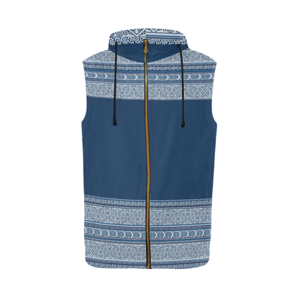 Men's Blue Hmong Batik Print Zip Up Hoodie Vest
