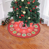 "Bright Red & Green Hmong Inspired Christmas Tree Skirt Christmas Tree Skirt 47"" x 47"""