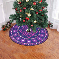 "Purple Hmong Inspired Christmas Tree Skirt Christmas Tree Skirt 47"" x 47"""