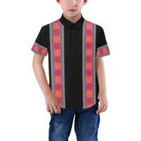 Boys Black & Red Hmong Trim Short Sleeve Dress Shirt