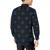 Men's Black & Blue Hmong Elephant Foot Print Dress Shirt