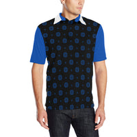 Mens Black & Blue Elephant Motif Polo Shirt with White Collar