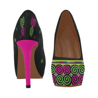 "Women's 4"" High Heel Pumps With Black, Green & Pink Hmong Snail Pattern"