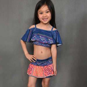 Hmong Girl's 2-Piece Off Shoulder Ruffle Swimsuit Shorts Set