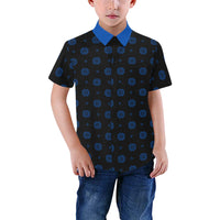 Boys Black & Blue Hmong Elephant Foot Print Short Sleeve Button Up Dress Shirt