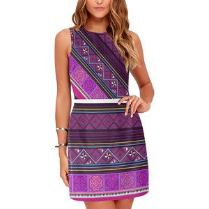 Purple Hmong Print Sleeveless Dress