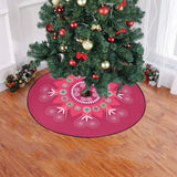 "Brick Red Hmong Inspired Christmas Tree Skirt Christmas Tree Skirt 47"" x 47"""