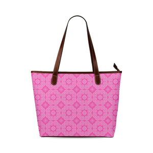 Pink Hmong Elephant Footprint Motif Shoulder Tote Bag