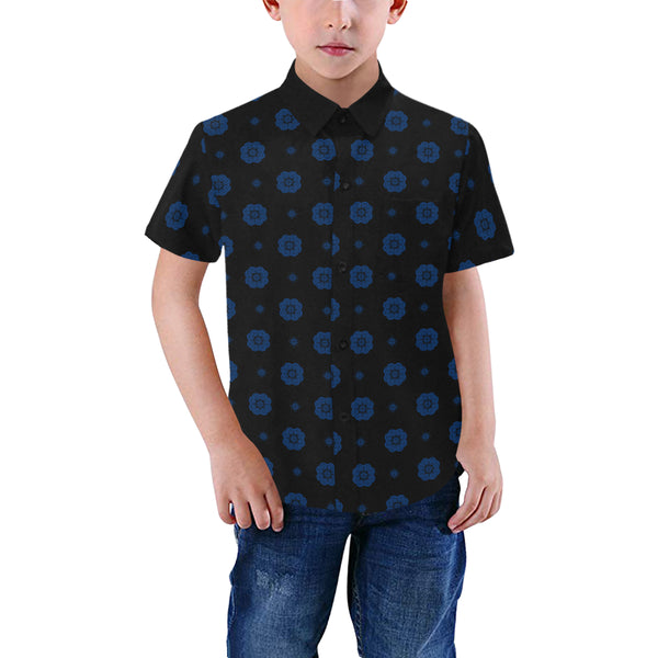 Boys Black & Blue Hmong Elephant Foot Print Short Sleeve Button Up Dress Shirt Black Collar